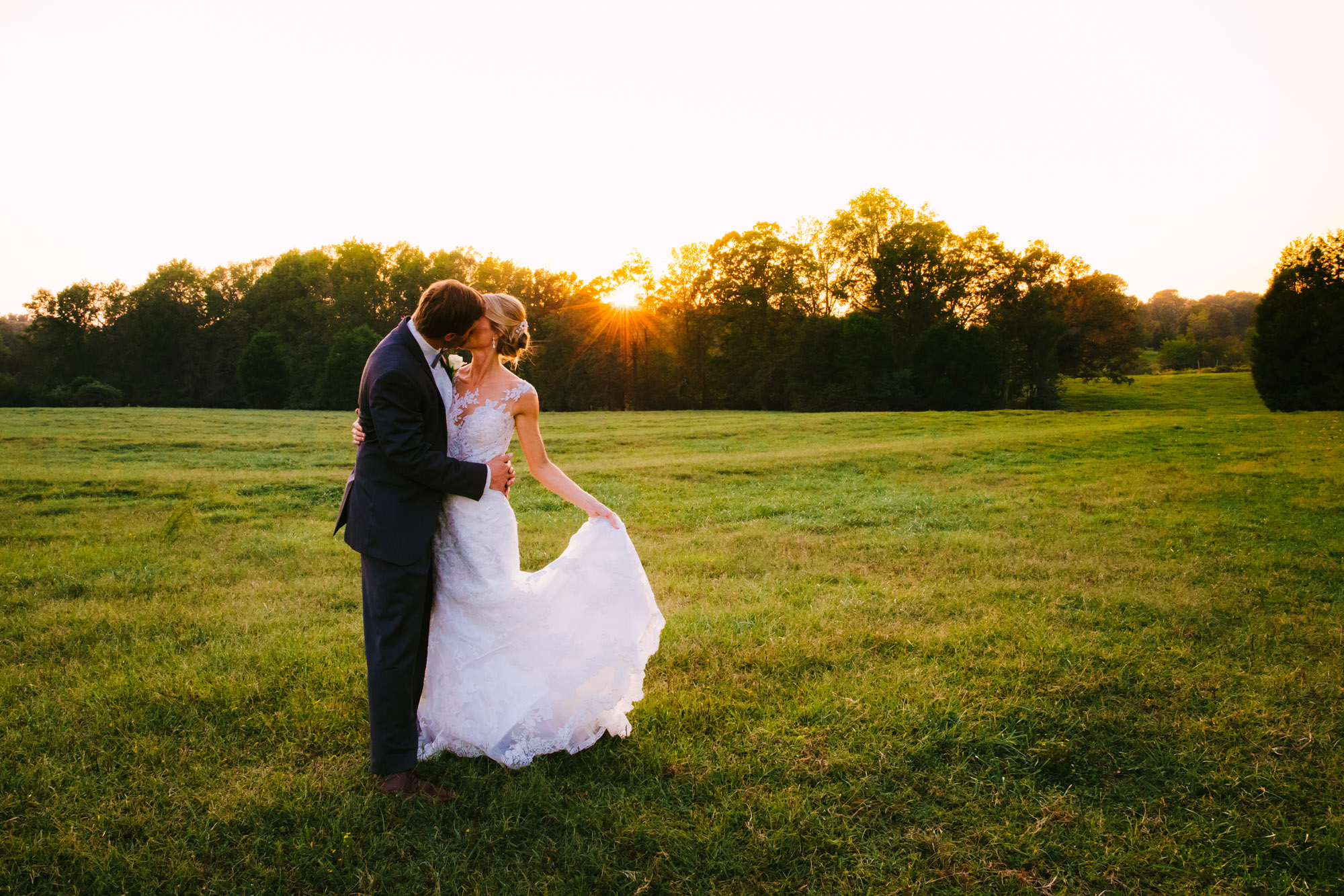 Waynesville, NC Wedding Photography | Bride and Groom Sunset Portrait in the Field