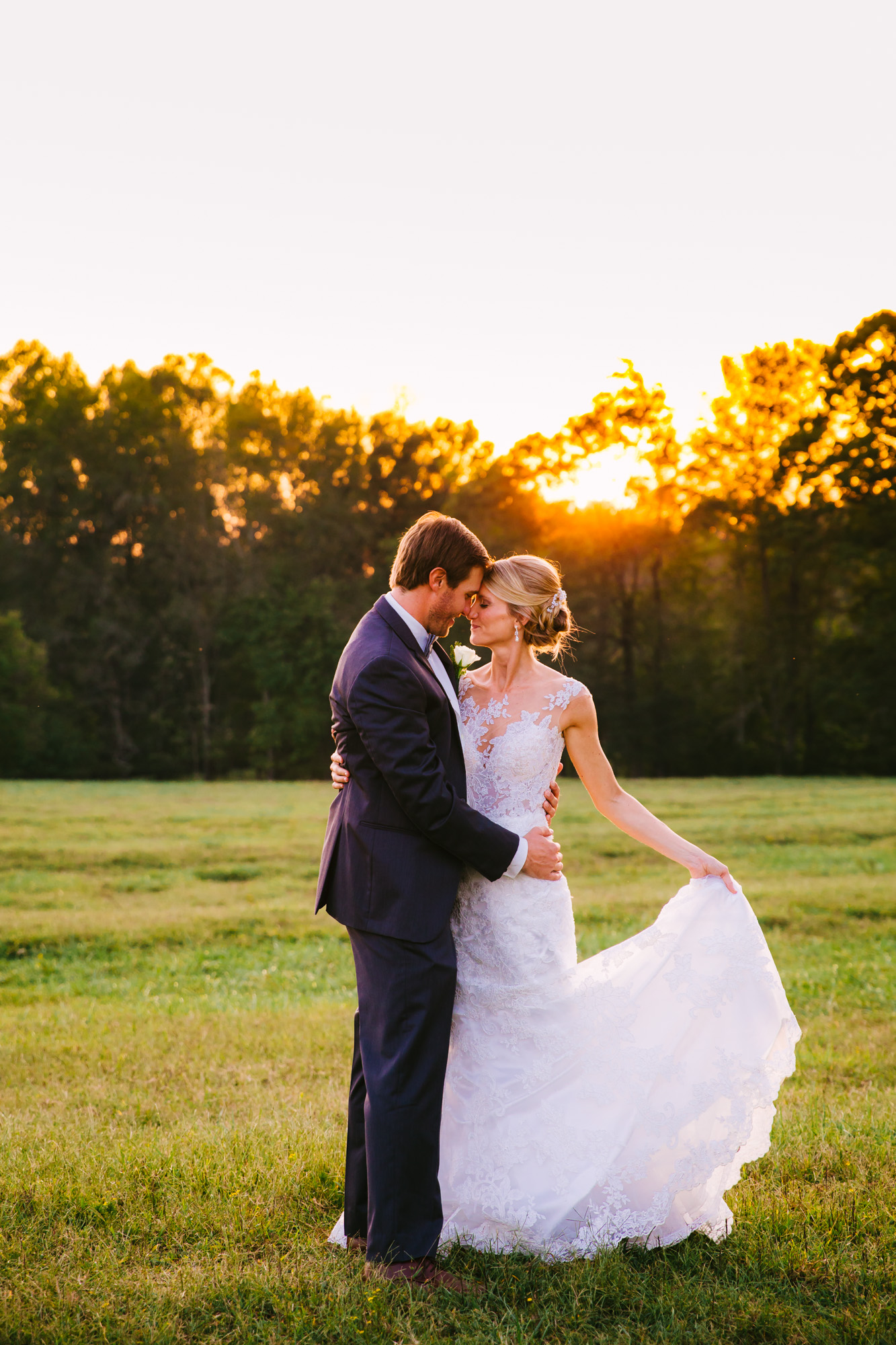 Waynesville, NC Wedding Photography | Bride and Groom Holding Each other at Sunset
