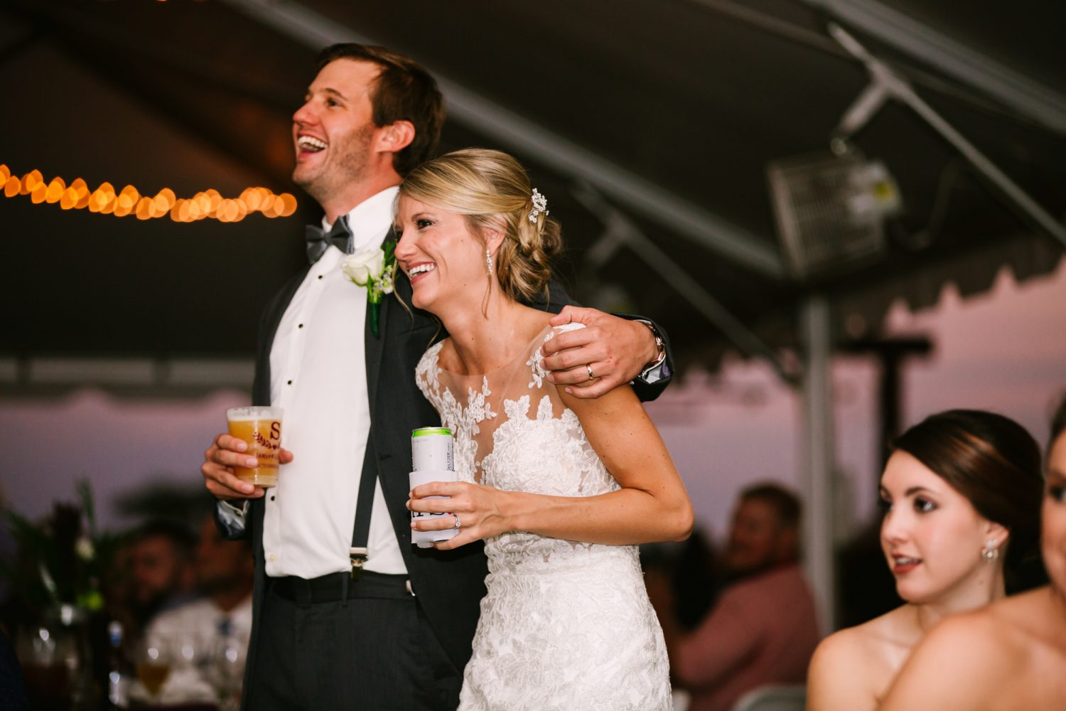 Waynesville, NC Wedding Photography | Bride and Groom Laughing at Speeches