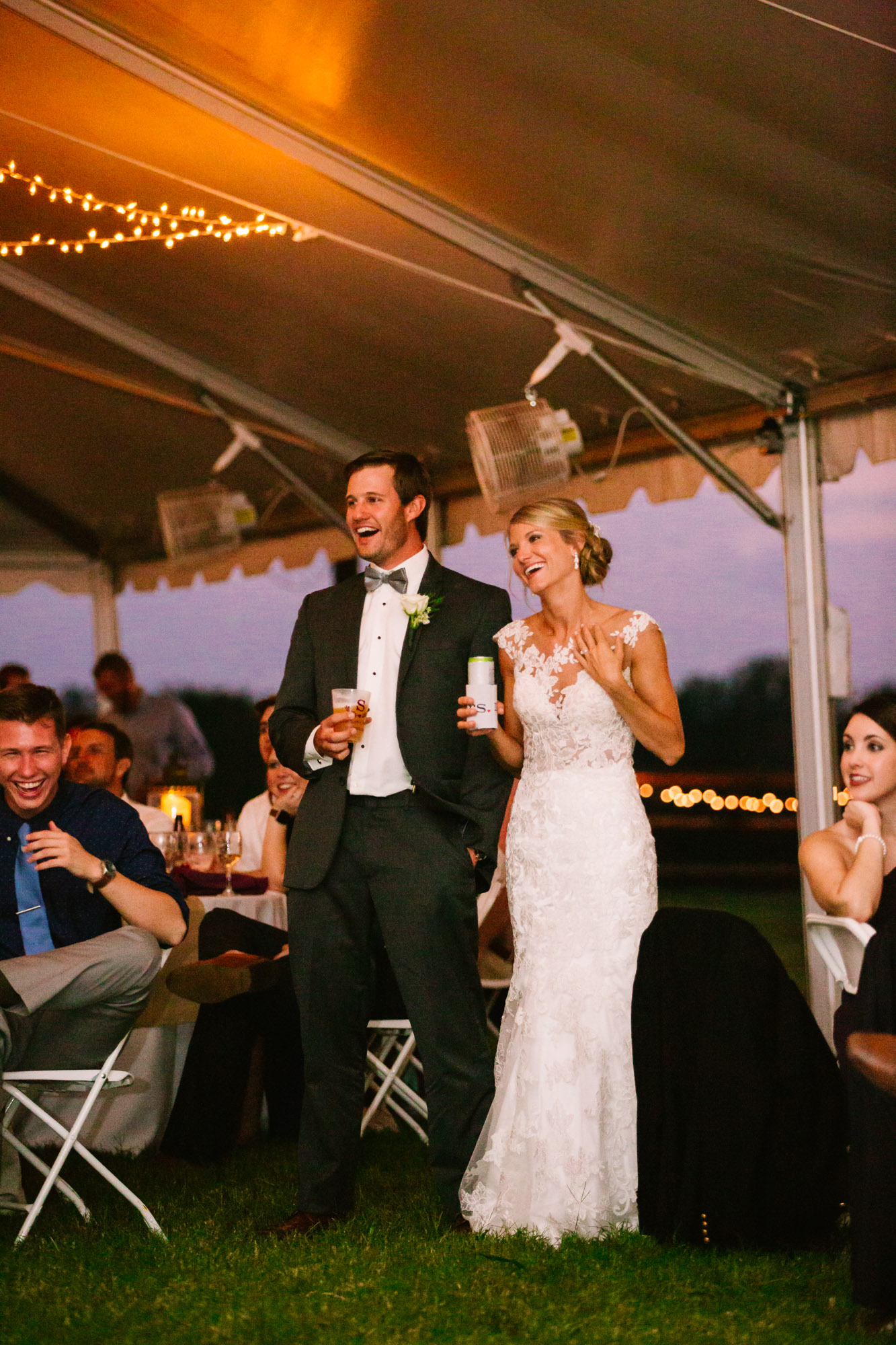 Waynesville, NC Wedding Photography | Bride and Groom Enjoying Toasts