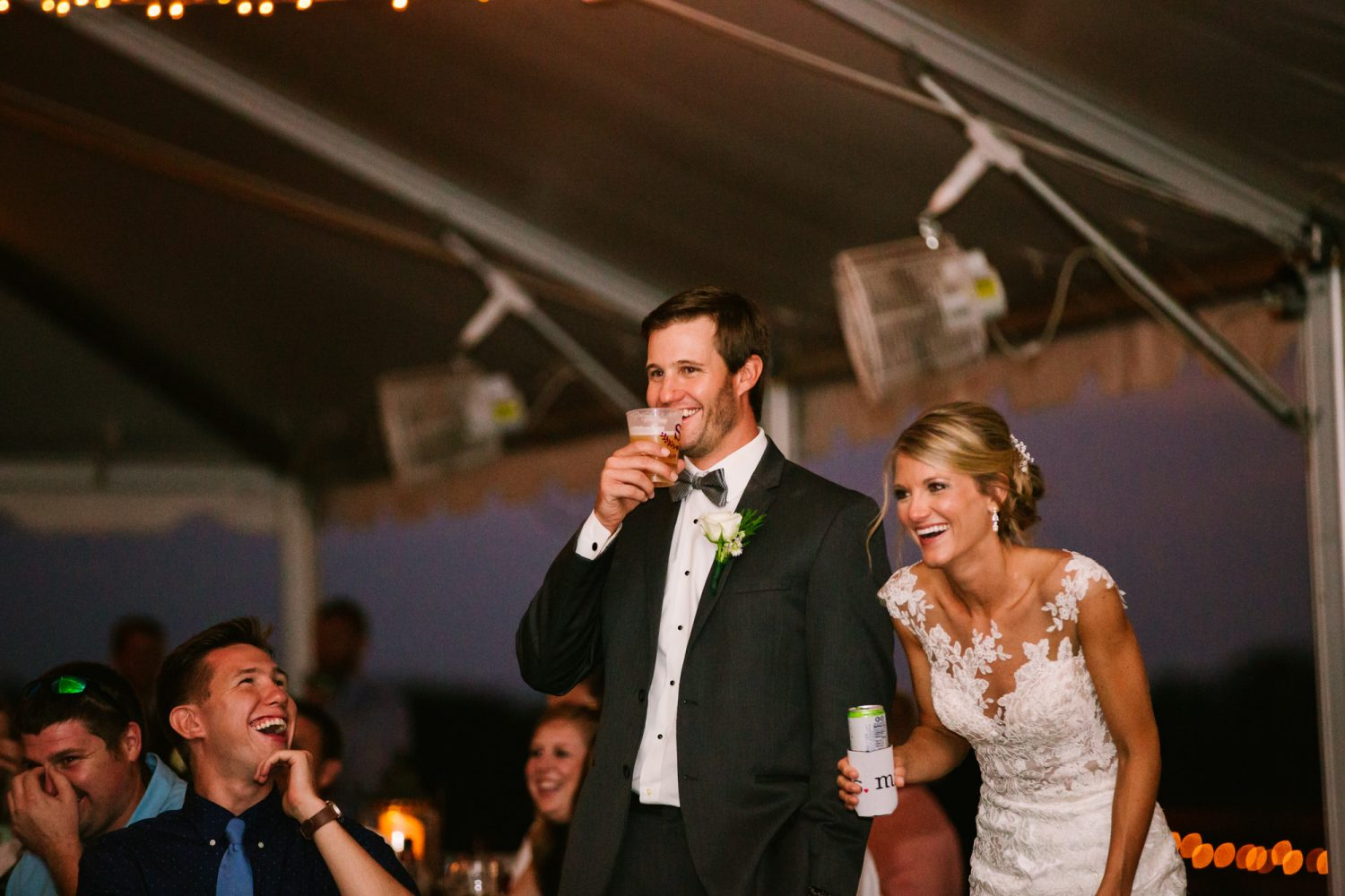 Waynesville, NC Wedding Photography | Bride and Groom Laughing at Speech