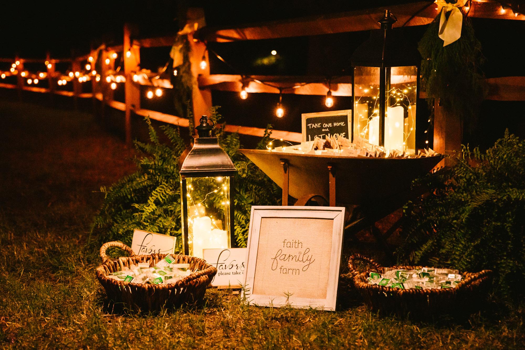 Waynesville, NC Wedding Photography | Wedding Reception Favors